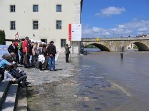 Hochwasser an der Steinernen Brücke
