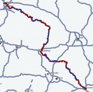 Reiseroute Elberadweg 2011