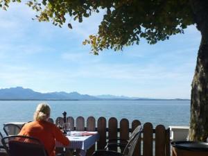 "Seeblick vom Restaurant ""Al Dente"", Chieming"