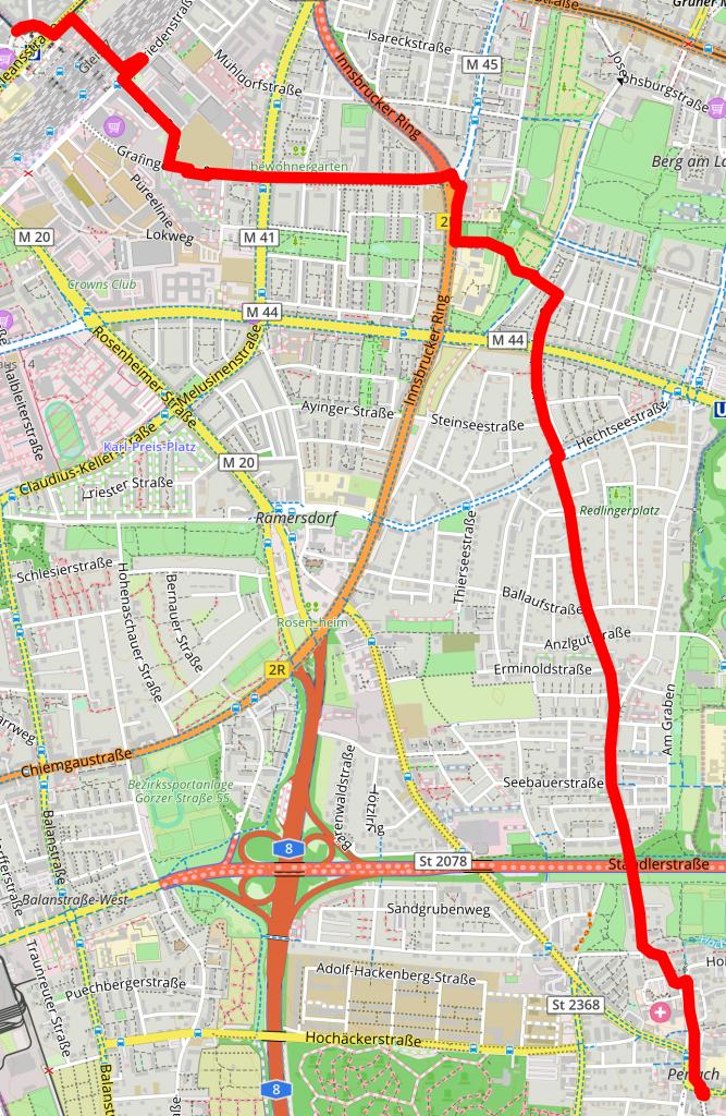 Route zum Ostbahnhof
