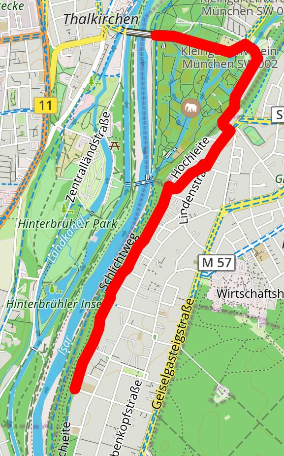 Route von Grosshesselohe zur Tierparkbrück