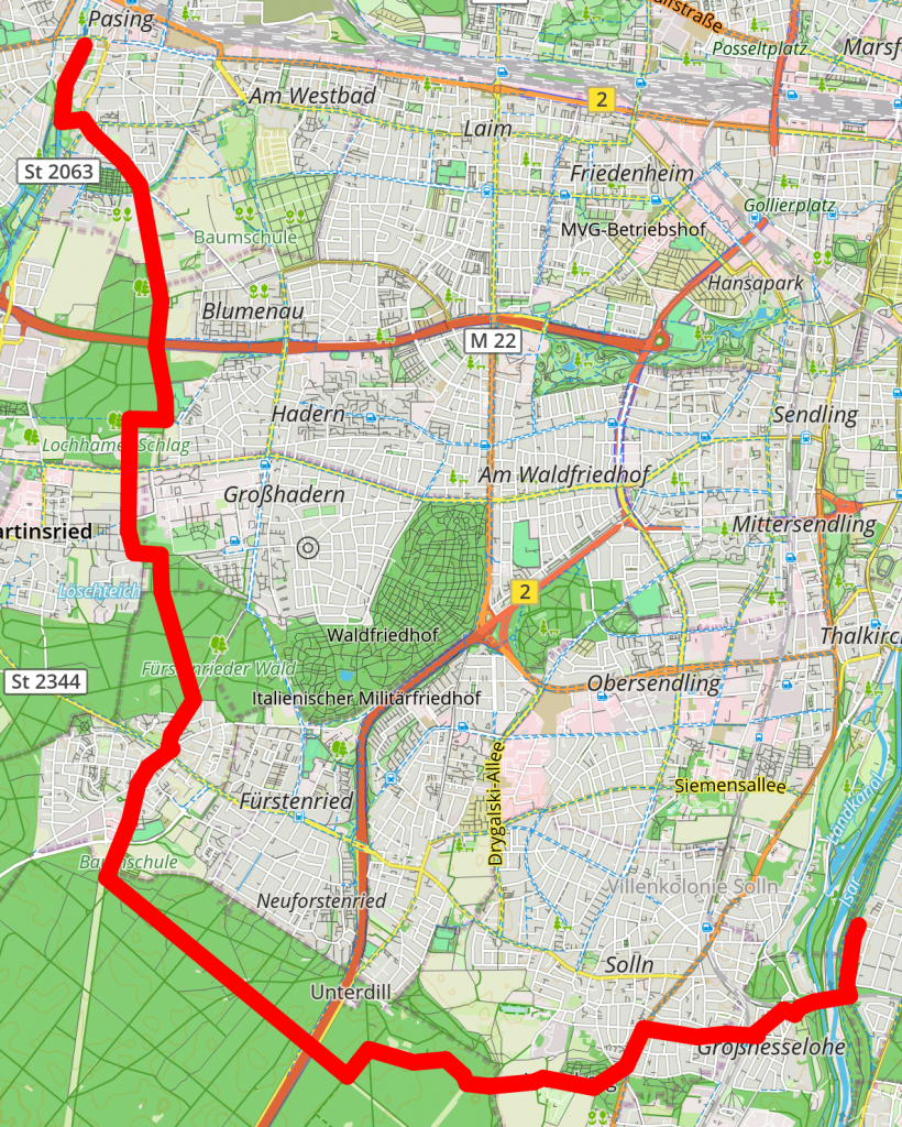 Route Solln-Pasing